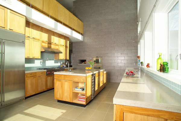 oil teak with custom concrete counters